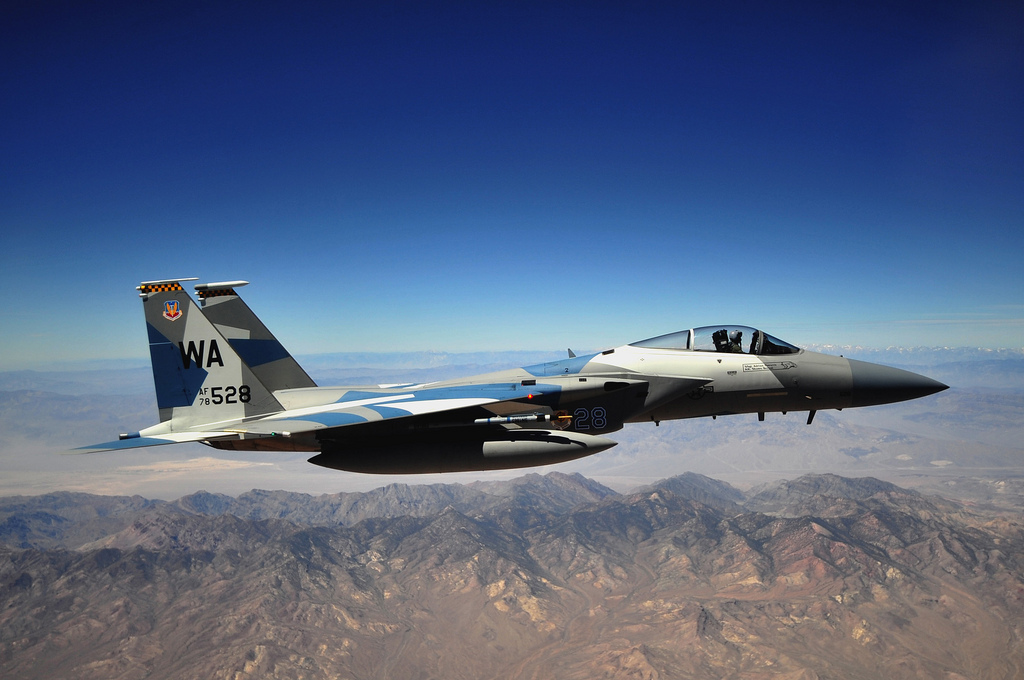 Guns and Military  U.S. Air Force F-15E Strike Eagle aircraft from the 65th Aggressor Squadron