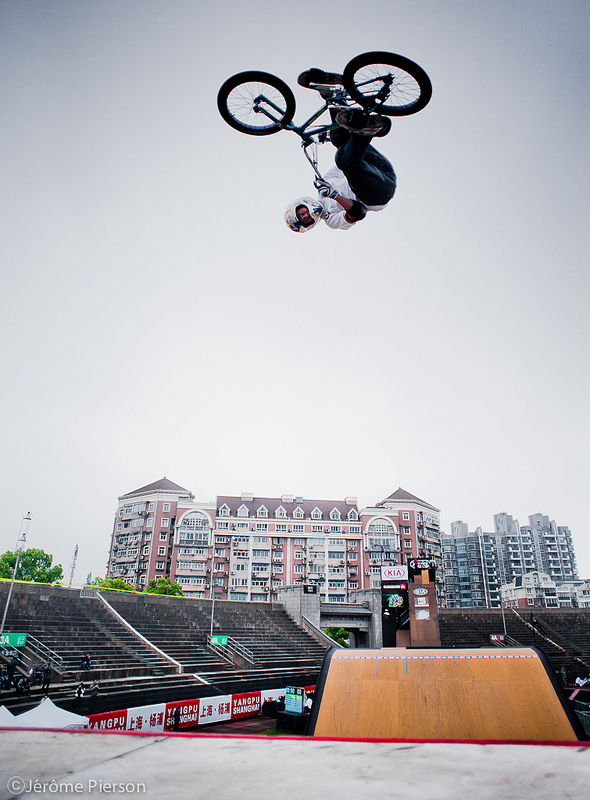 BMX Kevin Robinson warming up at the X Games Asia 2012