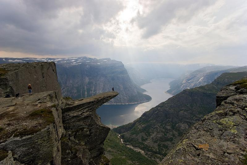 Camp and Hike Trolltunga is a piece of rock that stands horizontally out of the mountain above Skjeggedal in Odda, Norway.