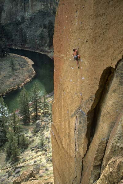 Climbing Clay Cahoon on Crossfire (5.12a/b R), The Dihedrals, Smith Rock, Oregon