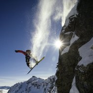Snowboard Eli Roberts in the Alpental backcountry of Washington