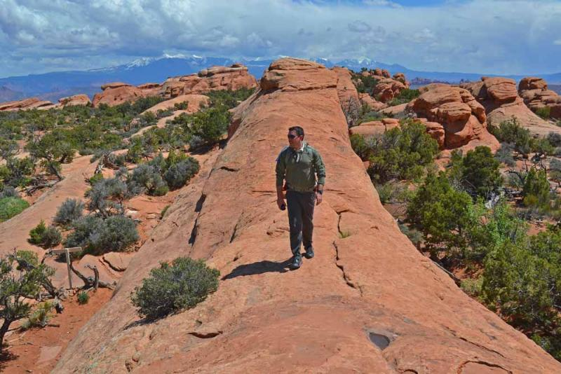 "Camp and Hike On a sandstone ""super highway"" at the north end of Arches National Park"