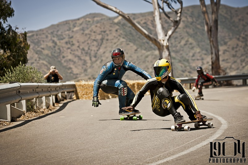 Skateboard Louis Piloni leads Kyle Wester down the course at the Catalina Classic held in Avalon on Catalina Island, Cinco De Mayo weekend.