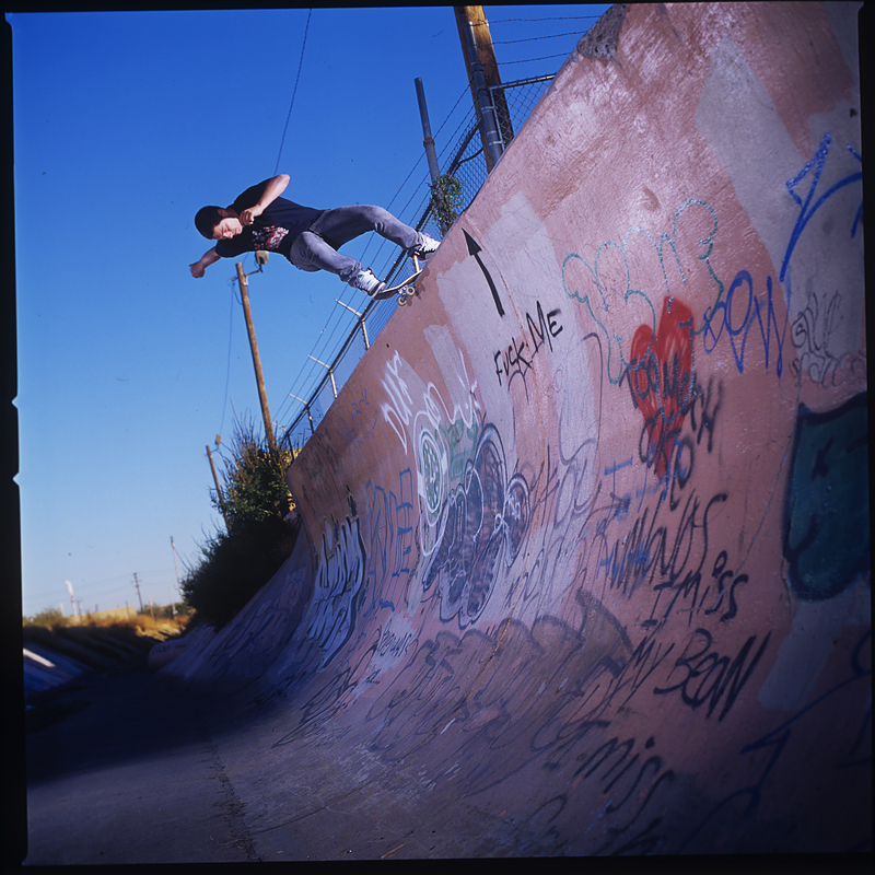 Skateboard Rune Glifberg, rock and roll over vert, El Paso Tx.