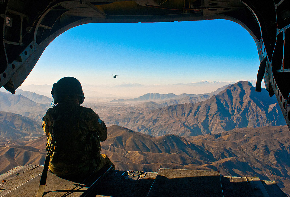 Guns and Military view on afghanistan landscape from a helicopter