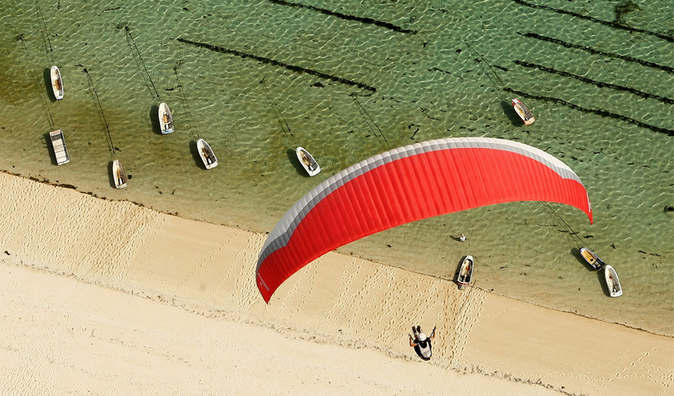 Extreme paragliding from above