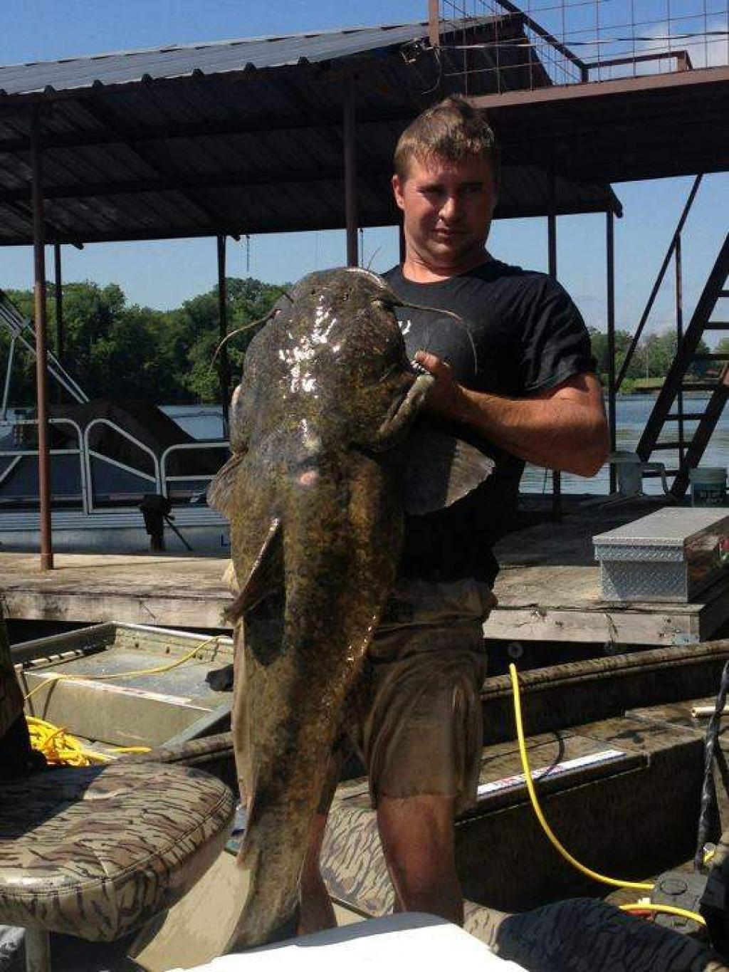 Fishing noodled...Flathead catfish caught in La