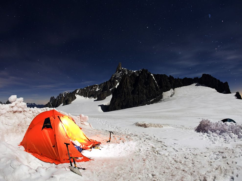 Camp and Hike Dente del Gigante, Italy