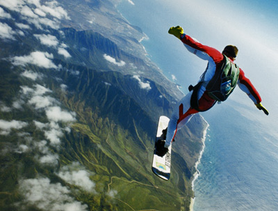 Extreme Skysurfers leap from planes and perform acrobatic maneuvers