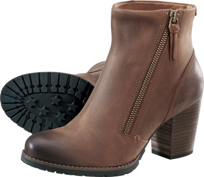 Beautifully designed in rich brown oiled leather. Asymmetrical zippers with leather pulls and antiqued hardware accents. The chunky leawood heels combine stylish details with rugged wearability. Imported. Womens sizes:6-10 medium width. Half sizes to 10. Color: Brown. - $99.88