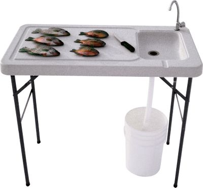 Fishing Set up this portable, professional table and quickly and easily fillet your catch with no mess or hassle. Stainless steel faucet hooks up to a standard garden hose to provide fresh water for fish or game cleaning. Flexible hose empties into a bucket or floor drain to minimize mess and maximize your time. Containment groove in the tabletop channels water and other liquids into the sink and down the drain. Locks in both the folded and upright positions. Includes heavy-duty stainless steel fillet clamp. Made of high-density-polyethylene. Dimensions: 37H x 45W x 24D. Weight: 22 lbs. Color: Garden. - $99.99
