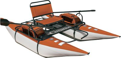 Fishing Launch yourself into the world of float fishing in the full-featured Cimarron. The heavy-duty 8-ft. pontoons have abrasion-resistant PVC bottoms and tough nylon tops. Dual-compartment pontoon bladders add an extra measure of safety. Rides high in the water for enhanced visibility. Unique dual-side stripping apron allows for easy entry and exit without unclipping. Mesh rear storage platform holds fishing accessories and other necessary gear. Powder-coated steel tube frame assembles easily without the need for tools. Includes two 6-ft., two-piece aluminum oars. Imported.Size: 96L x 55W x 29H. Weight capacity: 350 lbs. Weight: 46 lbs. - $159.88