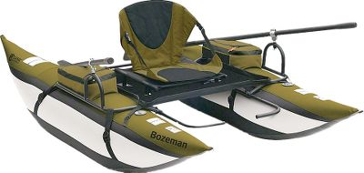 Fishing Sized to fit in the included backpack, this full-size pontoon is ideal for your backcountry adventures. The backpack has a super-wide opening for easy packing, padded back panel, sternum strap and ergonomic shoulder pads with adjustable load lifters. Removable backpack lid converts into a waist pack. Powder-coated steel frame supports the heavy-duty pontoons with abrasion-resistant bottoms and tough nylon covers. Cold- and heat-resistant bladders with quick inflation/deflation valves. Armrest storage includes two large, zippered pockets and small, mesh stuff pockets. Padded seat with stadium-style seat back and large zippered pocket. Adjustable-length footrests. Fabric storage platform with fish ruler. Includes pump; steel-clamp oarlocks; and two rugged, three-piece 6-ft. aluminum oars. Manufacturers one-year warranty. Imported. Assembled size: 96L x 55W x 29H. Backpack:16L x 10W x 10H. Weight:47 lbs. Weight capacity:350 lbs. Color: Bozeman Pontoon. Type: Pontoons. - $419.99
