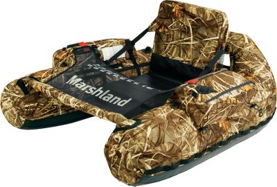 Fishing Take your two favorite outdoor sports fishing and waterfowl hunting to any watery location you want. Set up for hunting marshlands, ponds and lakes, this float tube is decked out in Realtree MAX-4 camo and it comes with a matching, floating decoy bag. This generous decoy bag with removable shoulder strap holds up to 24 duck decoys (not included). Its Roll-N-Stow cinch straps compress the bag during decoy deployment, and its mesh end and bottom panels drain water after each use. For the hunter, the float tube boasts an adjustable shotgun tether (shotgun not included), web loops on outer edge that hold brush to create an authentic brush blind, and D-rings on both sides for easy attachment of the decoy bag. It also has a safety-flag holder, two drink holders, two cargo pockets with double zippers, a large mesh platform and a seat-back mesh stuff pocket with two interior pockets. In the water, youll enjoy its hydrodynamic shape for easy tracking and steering. The padded seat with adjustable backrest provides support, comfort and its extra-high design keeps you drier and warmer longer. Other features include a quick-release, mesh stripping apron with a built-in fish ruler; a front-stabilizing spreader bar for hunting; Boston-style valves and removable shoulder straps for easy tube transport. Bag Dimensions: 28L x 15W x 15H. Tube Dimensions: 56L x 44W x 19H. Weight capacity: 300 lbs. Weight: 12 lbs. Camo pattern: Realtree MAX-4. Type: Float Tubes. Color Marshland Hunter Tub. - $259.99