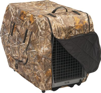 Hunting The Classic Kennel Jacket is a tough, affordable cover that protects your dog from wind, snow, rain and cold. The insulated camo covering makes it ideal for transporting dogs in an open truck on cold, wintry days. The zippered sides allow for venting. Camo pattern: Advantage MAX-4 HD. Sizes: Medium: 32L x 22W x 25-3/4H. Large: 36.25L x 25W x 28H. Extra Large: 40L x 27W x 30H. Size: LARGE. Color: Camo. Type: Kennel Jackets. - $74.99