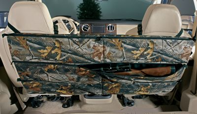 Hunting Conveniently stow up to three rifles or shotguns behind the seats of your pickup or SUV. Unique design offers fast access, plus you can place or retrieve the firearms from either side of the vehicle. Constructed of heavy-duty fabric reinforced with metal rods. Full-length dual-action pocket zippers. Mounts securely to head rests with included straps and buckles (does not mount in Dodge Ram Quad Cabs with built-in seat belts). Also includes cords to prevent bottom of case from swinging during travel. Imported. Dimensions: 50 x 23 x 2. Color/Camo patterns: Black(Not shown), Realtree Hardwoods HD. Color: Black. - $51.88