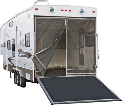 Turn your cargo area into a screened-in porch. This easy-to-install screen will keep the bugs at bay and provide shade to the interior of your toy hauler. The Rip and Grip model works on fiberglass haulers, while the magnetic model is perfect for steel haulers. Width and height are adjustable for a custom fit. Adjustable design fits all major toy hauler manufacturers. Both models include gray PolyPro privacy screens that can be quickly attached to the outside of the screen panels with rip-and-grip strips. Dual zip-open panels provide easy entry and exit points. Three-year warranty. Dimensions: 98-1/2 x 90-1/2 . Models: Rip and Grip, Magnetic. Size: MAGNETIC. Color: Gray. Type: Accessories. - $97.49