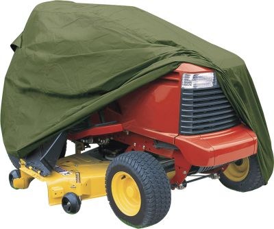 "Don't let sun, rain, snow, dust, birds or tree sap ruin the finish on your lawn tractor. Protect its value and your investment with this heavy-duty fabric cover. The material is treated for maximum water resistance, and it won't shrink or stretch. In windy areas, dual vents prevent the cover from ballooning. An elastic shock cord in the bottom hem ensures a snug, custom fit. Fits lawn and garden tractors with mowing decks up to 54"".One-year warranty on the fabric. - $49.99"