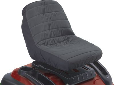 Protect the seat on your new tractor, or give new life to your old seat with this weather-resistant Seat Cover. The heavy-duty material is specially treated to guard against the damaging effects of UV rays and provide optimal water repellency. The hem contains an elastic shock cord for a quick and secure fit, and the seat cover adds extra cushioning for comfort. On the back of the seat are handy gear and tool pockets that you'll appreciate when it's time to tighten or loosen a mower component and you're far away from your garage. Fits seats with backrests up to 15 high. There is a one-year manufacturer's warranty on the weather-protected fabric. Color: Black. Color: Black. - $24.99