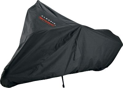 Auto and Cycle Old blankets and tarps just don't cut it, you need a cover that's going to keep your bike protected. This heavy-duty motorcycle cover is perfect for the job. It has an interior heat shield, nonscratch windshield liner and air vents for circulation. Made from all-weather, UV-resistant ProtekXfabric for optimum protection against sun, rain, dirt and pollutants. The metallic heat shield fabric protects cover from hot exhaust pipes so you don't have to wait for the pipes to cool before covering. Lockable bottom adds an extra measure of security. Includes a matching stuff sack and two elastic tie-down cords. Two-year warranty.Available: Sport (102.5 L x 64 H - fits motorcycles up to 86 L x 38 W x 50 H) Cruiser (118 L x 63 H - fits motorcycles up to 102 L x 46 W x 62 H) Touring (122.5 L x 67 H - fits motorcycles up to 108 L x 46 W x 64 H). Size: SPORT. Gender: Male. Age Group: Adult. - $49.99