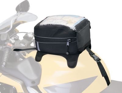 Auto and Cycle If your bike doesn't have the storage you need, then turn to these Motorcycle Saddle, Tail and Tank Bags. All are made from heavy-duty, UV-resistant ProtekX Extreme fabric with PVC backing for maximum weather and abrasion protection. Available: The Motorcycle Saddle Bags carry all the extra gear you need, but only when you need it. The bags attach quickly with adjustable rubberized straps and quick-release buckles. The universal fit is perfect for sport, touring or cruiser motorcycles. Heat shield panels on the bottom and sides protect the bag and its contents from hot exhaust pipes. Foam panel construction provides structure and protects your gear without a saggy look. Reflective trim adds visibility. Big zippered cargo compartment has easy-open handles. Exterior zippered side pockets add easy-access storage. Easy-view zippered pockets under the lids are perfect for maps and valuables. Padded carrying handles. Pull- out storm shield. Two-year warranty. Per pair. Dimensions: 15.5 L x 6.25 W x 10 H each. The Motorcycle Tank Bag has become extremely popular, especially among sport bike riders, for holding extra gear right where you need it. This expandable cargo bag uses adjustable straps, quick-release buckles and magnets to hold tight to the metallic tanks on sport and other bikes. The expandable zippered cargo compartment has a convenient clear top map pocket. Scratch-resistant, non-slip bottom protects your tank. Foam panel construction provides structure and keeps shape while protecting your gear. Reflective trim enhances visibility. May not work with nonmetallic (composite) tanks. Pull-out storm shield. Two-year warranty. Dimensions: 11 L x 8.25 W x 6.5 H. The Motorcycle Tail Bag takes advantage of the wasted space between the saddle bags. It can be used on its own or attached to the Saddle Bags to give you another storage option. The adjustable straps and quick-release buc Size: TAIL. Color: Clear. Gender: Male. Age Group: Adult. - $39.99