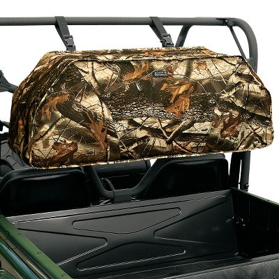 Entertainment Protect two large compound bows while on the trail. Easy-access bow pockets with impact-absorbing padding. Four zip-close accessory pockets. Quiver sleeve. Water-resistant zippers. Weather-resistant, tough-as-nails ProtekX Extreme shell in Realtree Hardwoods HD Grey. Mounts to UTV roll cages and ATV cargo rack. Imported.Dimensions: 42 L x 12.25 W x 16.25 H.Camo pattern: Realtree Hardwoods HD Grey. Color: Grey. Type: Bow Mount & Storage. - $144.99