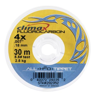 Fishing Climax Freshwater Fluorocarbon Tippet Material is made from a material having the same light refraction as water. It virtually disappears in the water, making it impossible for the fish to detect! The hard, smooth surface of fluorocarbon creates less friction and heat on the material as you tighten your knot, therefore knots are stronger. 30-meter spools. Size: 2X. Type: Freshwater Tippets. - $7.88