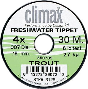 Fishing True Diameter. Great diameter-to-strength ratio. High knot strength, high-abrasion-resistant material matches Climax Leaders. Available in 30-meter spools. Size: 1X. Type: Freshwater Tippets. - $2.88