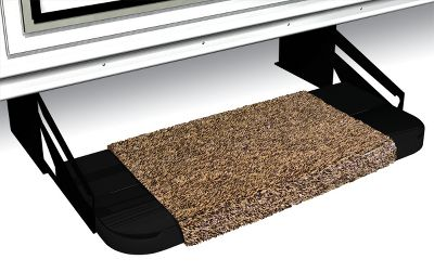 "Prest-O-Fit Step Rugs cover the sharp edges of your metal RV steps and add traction in slippery conditions. Per each.Sizes: 18"", 20"", 23"".Colors: Brown, Green, Blue, Gray. Type: RV Matts. Color Gray. Size 18"" Step. - $14.99"
