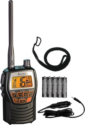 The HH125 offers the quality handheld VHF features you need in a unique compact design that is waterproof to JIS4 standards. Select from 1 or 3 watts of power with the push of a button. Large, illuminated LCD display and keypad for easy operation. Receives all NOAA weather channels and weather alerts to keep you informed of weather changes. It memorizes up to 10-channels and will monitor two channels at once in dual-watch mode. You may also choose memory scan to cover a personalized range of channels. Other highlights include an external speaker/microphone jack and instant emergency channels 9 and 16. Powered by five rechargeable NiMH batteries (included). The HH125 also includes a 12-volt vehicle adapter. - $59.99