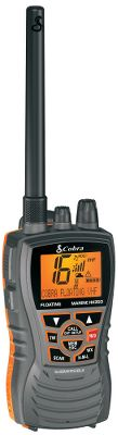 Ergonomic and compact, Cobras 350 Floating VHF Handheld Radio fits your on-the-water lifestyle. Floating design and orange-lit core are easy to spot and retrieve if it goes overboard. When it gets wet, its specialized BURP feature vibrates water out of the speaker grill for improved audio performance. Noise-cancelling microphone blocks background noise for ultraclear audio. Easy-to-use design and intuitive buttons. Select 1, 3 and 6 watts for short- and long-range communication. Receives all NOAA weather channels. Instant access to national All Hazards and weather information. Includes powerful 1,000 mAh lithium-ion battery, desktop charger and 12-volt charger. Three-year warranty. Available: Black, White. Color: White. Type: Handheld VHF Radios. - $99.99