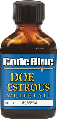 Hunting Code Blue Doe Estrous Urine is deadly effective during the peak of the rut. 100% doe urine collected during estrus. Attracts those aggressive and elusive big bucks. Comes in a 1-oz. bottle. Color: Blue. - $10.99