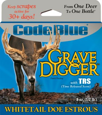 Hunting Eliminate visits to scrape sights and prevent human odor contamination with these 30-day, time-released scents. Grave Digger Doe Estrous fills the woods with the scent of hot doe, regardless of weather conditions. 1/2-lb. container. Made in USA. Size: 8 oz. Color: Blue. - $12.99