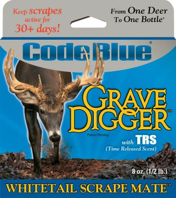 Hunting Grave Digger Whitetail Scrape Mate attracts curious early-season bucks and territorial late-season rutting bucks. Moisture- and freeze-resistant. Airtight sealed bag. Made in USA. Size: 8 oz. Color: Blue. - $11.88