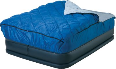 "Camp and Hike Sleeping bag features a fitted sheet that will fit most air and conventional mattresses including raised air mattresses. It's the perfect bag for camping and guests. Durable polyester shell with comfortable silk-touch polyester liner and fitted sheet. Anti-snag zipper. Carry bag included. Temperature rating of 30 . Air bed not included. Imported. Available: Twin Dimensions: 76""L x 39""W x 9""H. Queen Dimensions: 83""L x 60""W x 9""H. - $29.88"