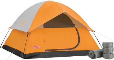 Camp and Hike Includes everything youll need for a weekend getaway. The 8' x 8' tent sleeps up to four people and can hold a queen-size air mattress. Polyester fly keeps out rain. Setup is quick and easy with the tents pin-and-ring design and Insta-Clip attachments. Two polyester-filled sleeping bags keep you warm in temperatures as low as 50F. Sleeping bags fit persons up to 5'11 tall. Center height of tent is 4'11. Tent dimensions: 8L x 8W x 411H. Sleeping bag dimensions: 75L x 33W. - $134.88