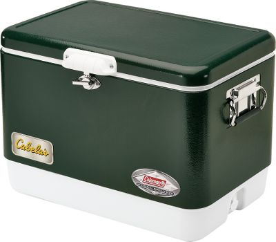 Camp and Hike Originally manufactured by Coleman in 1954, the Classic Steel Cooler is a company hallmark. And now, the Classic Steel Cooler is back with todays latest cooling technology. It keeps ice up to three days in temperatures reaching 100F. The cooler has a sturdy steel lid and case, as well as stainless steel handles with rubber grips. It also has a steel latch and stainless steel hinges and screws. Leakproof and rust-resistant drain. Made in USA. Weight: 22 lbs. Dimensions: 16-3/4H x 24-1/4W x 16-3/4D. Color: Black-Cabelas Exclusive. Color: Black-Cabelas Exclusive. - $129.99