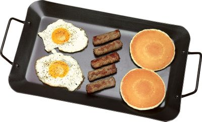 Camp and Hike Great for preparing large breakfasts at home or when you're trying to satisfy a group of hungry anglers, hunters or campers after a morning in the field, this spacious griddle measures a full 10-3/4 x 16-1/2 . Heavy-duty steel construction with a tough non-stick coating that makes clean-up much easier. - $19.99
