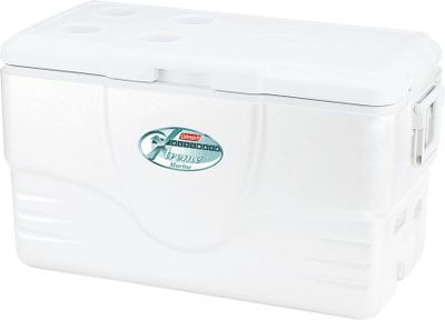 Camp and Hike The Coleman 28-qt. Marine Cooler keeps food, beverages or your catch cold, even on trips lasting for days with. Lid is UV-resistant and has rust-resistant hardware. Split lid with separate latches. Cooler features a fish-measuring scale. Marine drain fits standard garden hose. Keeps ice solid for Keeps ice solid for 24 to 36 hours on 90 days. Holds up to 36 cans. Made in USA. 19.1L x 12.7W x 14.6H. Wt: 7 lbs. Color: White. Type: Coolers. - $34.99