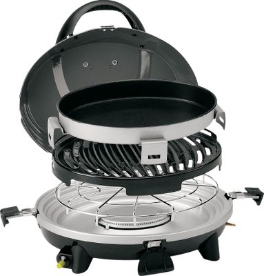 Camp and Hike Get a full range of cooking options in one portable system. Included base, burner, grill and skillet are interchangeable to meet all your cooking needs. Three nestable cooking surfaces lock in place for convenient carry to the campsite. Cooking surfaces stay protected during transport under the porcelain-coated lid. Fully adjustable cooking control with a 5,000-BTU burner output. InstaStart matchless lighting ignites propane. Removable grill, skillet and cooktop are dishwasher safe. Includes expandable carry case. Folded dimensions: 6.75H x18W x 14.5D. Weight: 12.60 lbs. Type: Camp Grills. - $109.99