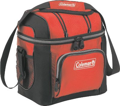 Camp and Hike Lightweight and conveniently sized, these soft-sided coolers keep beverages and food cool while away from home. Extra-gear-storage options include front zippered pocket, mesh lid pocket and bungees on lid. Adjustable shoulder strap for easy carry. Includes removable hard plastic liner. Sizes: 9-Can, 16-Can, 30-Can, 42-Can. Colors: Assorted (Red, Blue, Green, Gray). Size: 16 CAN. Color: Red. - $19.99