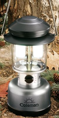 Camp and Hike At 580 lumens on high (10 lumens on low), this super-powered, battery-operated lantern is the brightest Coleman currently offers. Uses four Cree 7090 XR-E Emitter LEDs. Infinitely adjustable dial for multiple output settings from ultralow to high. Base unscrews without requiring tools for easy access to battery compartment. Weather-resistant construction. 75-hour run time on low. 8-hour run time on high. Powered by eight D-cell batteries (not included). - $74.99