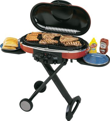Camp and Hike An open-flame grillin' machine with fully adjustable 20,000-BTU burners and large 285-square-inch cooking surface area. Lights without a match and provides consistent cooking performance, even in cold weather, high altitude and when fuel is low. Lasts up to one hour with both burners on high or 4-1/2 hours on low using one 16-1/2-oz. propane cylinder. Operates on 16-1/2-oz. propane cylinder (not included) or a standard 20-lb. propane tank (tank hose and tank required). Fold up the legs and handle for compact storage and easy wheeled transport. Built-in tool holders and side tables for convenience. Removable grease tray. Two grill grates included. Weight: 52 lbs. - $179.88