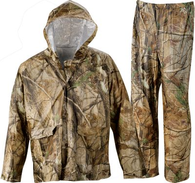 Hunting Shield yourself from downpours in this affordable camo rain suit. The whole suit packs easily into a gear bag for convenient carry. Suit includes jacket and pants. Imported. Sizes: M-2XL. Camo pattern: Realtree APG. Size: LARGE. Color: Realtree Apg Hd. Gender: Male. Age Group: Adult. Pattern: Camo. Type: Rain Suits. - $29.99