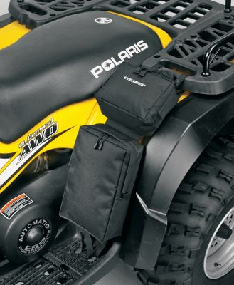 Add more storage to your ATV with this soft-sided bag. Made of heavy-duty polyester fabric with a laminated PVC liner. Water-resistant. The Fender Bag is a two-compartment bag that attaches to the front or rear fender with side-release buckles. Imported. Dimensions: 17-1/2L x 9W. Capacity: 393.75 cu. in. Color: Black. Color: Black. Gender: Male. Age Group: Adult. - $16.88