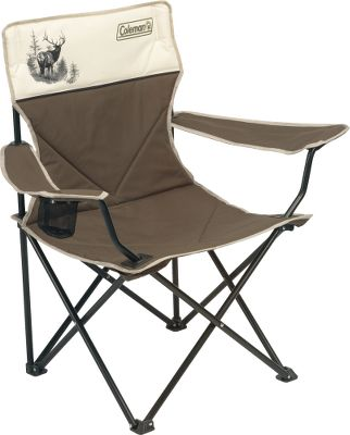 "Camp and Hike Colemans Legacy Chairs are great for camping, backyard activities or whenever an extra chair is needed. Both feature rugged 600-denier fabric, a 300-lb. weight capacity, padded seats and backs, and your choice of an elk or whitetail portrait. The large Quad Chair has a folding, powder-coated steel frame and includes a cup holder and carry bag. The ergonomic Deck Chair has a lightweight, folding aluminum frame and built-in carry strap for easy transport. Imported.Dimensions: 19""H x 18""W x 18""D.Weight: 9 lbs. 11oz.Styles: Elk, Whitetail. - $29.88"