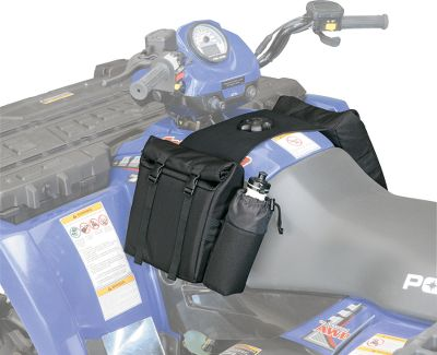 Crafted with a contoured shape and fully padded with closed-cell foam, the redesigned Pro-Series ATV Saddle Bags are not only larger, they also protect your valuable equipment better, too. Unique neoprene gas tank harness with adjustable nylon web straps accommodates all ATVs. Spacious 12-1/2 x 9-1/2 x 3-1/2 side pouches are now zipperless and incorporate a roll-top double storm flap to guard against moisture and dust, plus they provide quick, easy access even when wearing bulky gloves. Exterior water-bottle pocket and 7-1/2 x 2 zippered accessory pouch. Velcro securing strip prevents bags from bouncing when riding on rough terrain. Color/Camo pattern: Black, Mossy Oak New Break-Up. - $8.88