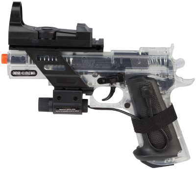 Shoot the officially licensed airsoft replica of the Colt Combat Commander. The authentic 1:1 scale size looks just like the original. Shoots BBs up to 210 feet per second. Integrated rail system allows easy accessory additions. Includes laser and holographic sight and rail-mounted flashlight for low-light conditions. - $19.99