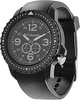 Camp and Hike At home, in the office or on the trail, it combines the style of a classic field watch with the accuracy of a modern timepiece. Rotating Timer Lock bezel marks time and lets you measure the progress of your dive or hike with one-look convenience. Luminous dials with numbers at 12, 3, 6 and 9 o'clock. Water-resistant to 320 feet. Imported. Case diameter: 46mm. Colors: Black/Grey, Green. - $55.00