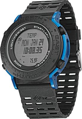 With all the technical functions youll need to head out into the wild, this watch is built with lightweight, quality materials yet its sturdy and durable to handle rugged use. The case and strap are polyurethane with aluminum contrasting colors. Watch features include altimeter (current, max, and cumulative), barometer, digital compass, temperature, 200 tide locations, 24-hour chronograph, lap splits, and data memory water resistant to 100 meters. Imported.Case diameter: 50mm. Colors: Black/Blue, Black/Grey. - $250.00